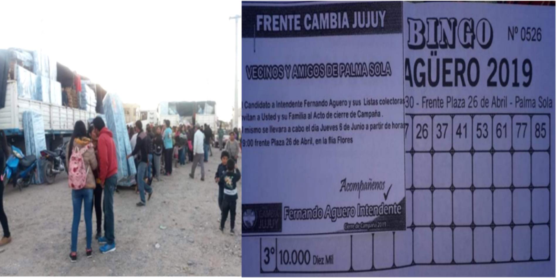 Izquierda: entrega de colchones en Finca El Pongo. Derecha: Bingo en Palma Sola