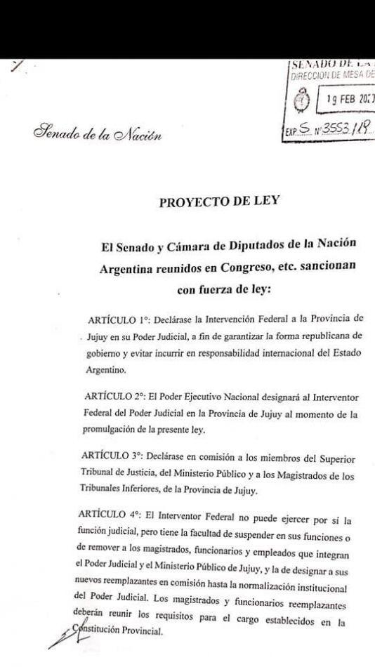 Snopek presentó un proyecto para la intervención federal del poder judicial de Jujuy