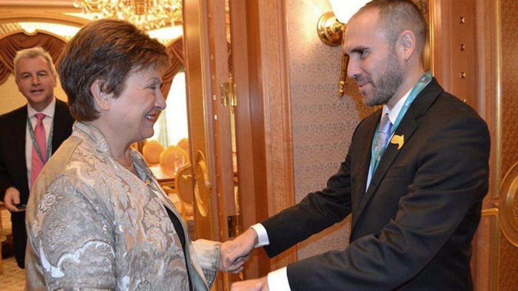 Foto: Martín Guzmán y Kristalina Georgieva en la cumbre del G-20