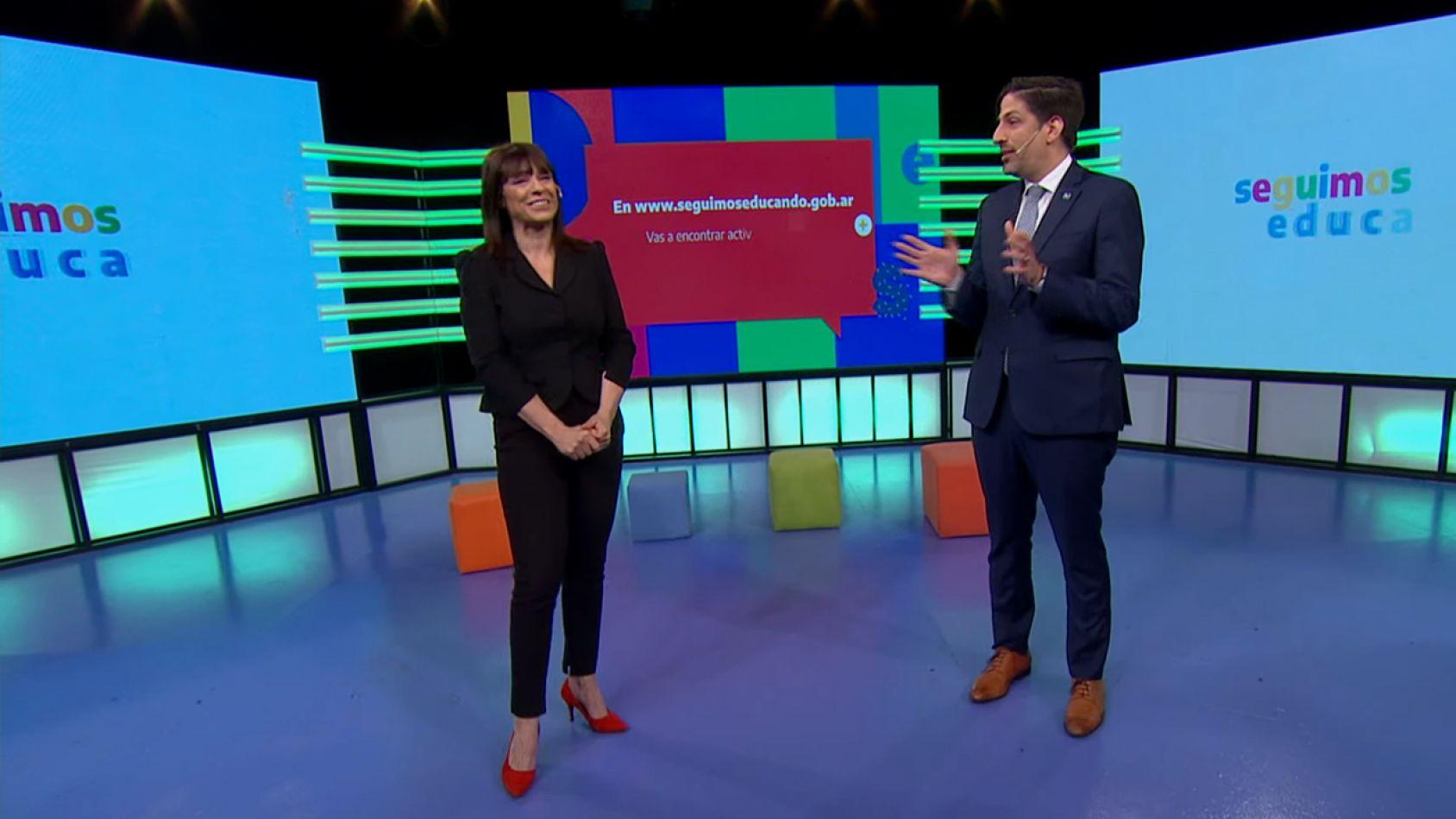 Foto: Tv Pública. El ministro de Educación Nicolás Trotta junto a la secretaria de Medios Rosario Lufrano