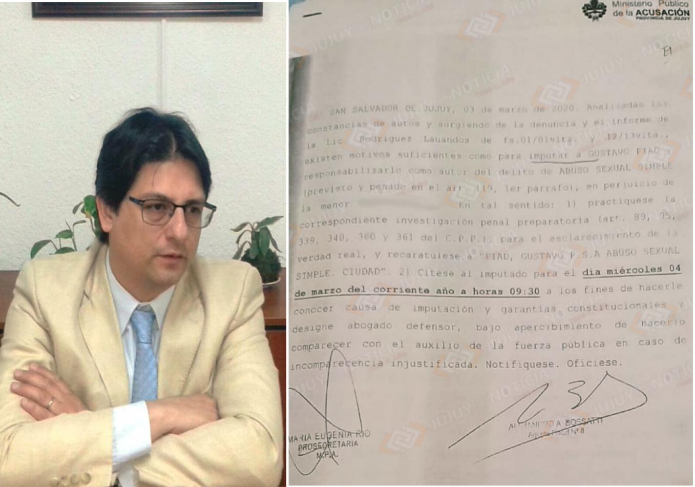 Foto: denuncia contra Gustavo Fiad por abuso sexual (Jujuy es Noticia)