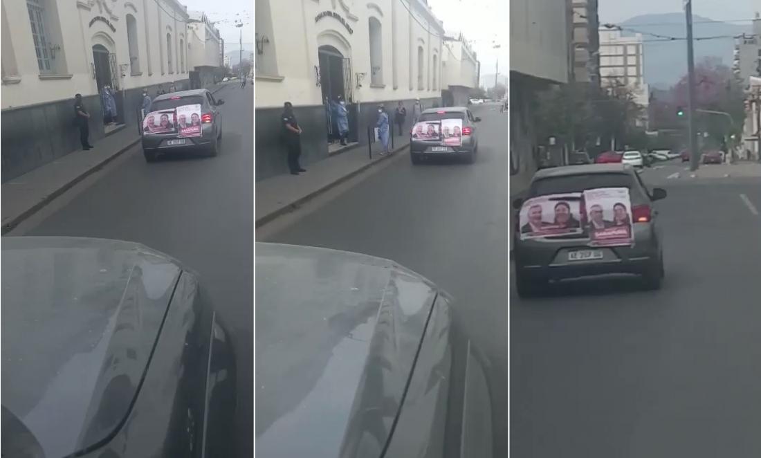 Otra vez el gobierno de Morales violando la veda, un auto en la capital paseaba la cartelería de sus candidatos (vídeo)