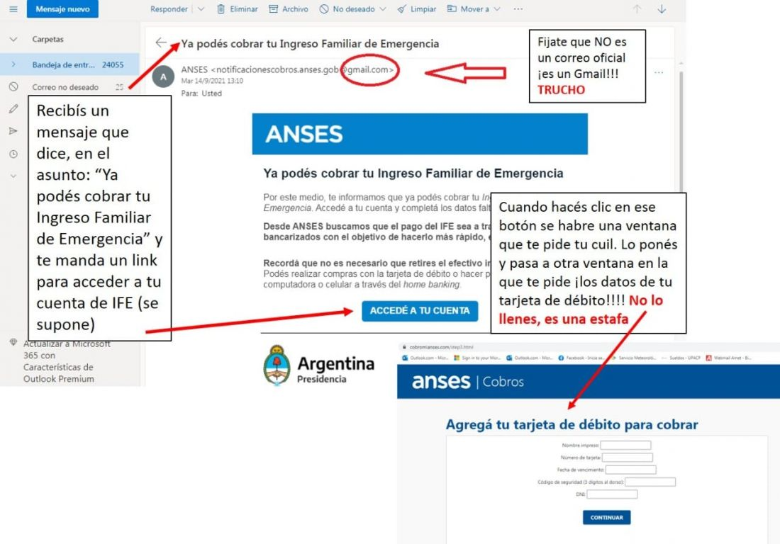 Advierten sobre estafas a través de correos electrónicos en nombre de ANSES
